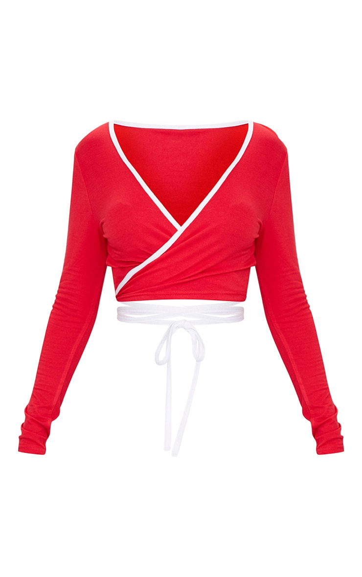 Red Jersey Contrast Wrap Crop Top 3
