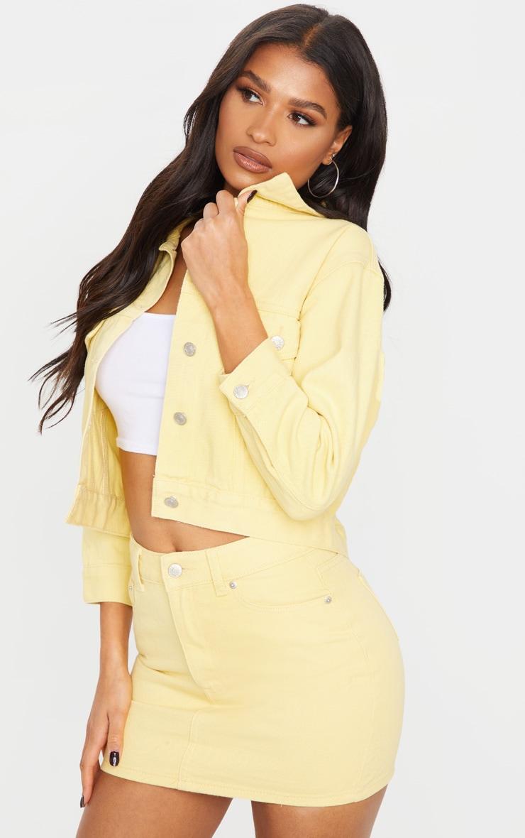 Lemon Cropped Sleeved Denim Jacket 1