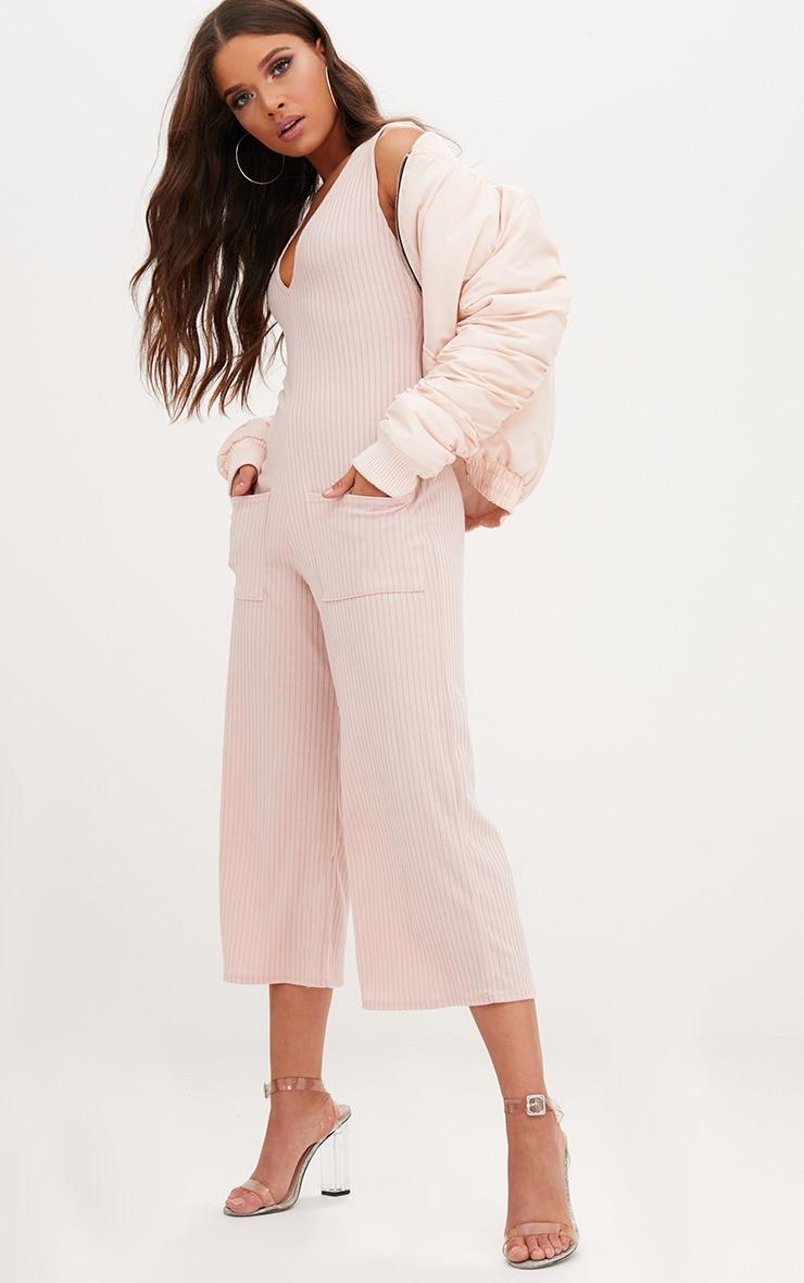 Pink Ribbed Culotte Pocket Jumpsuit 1