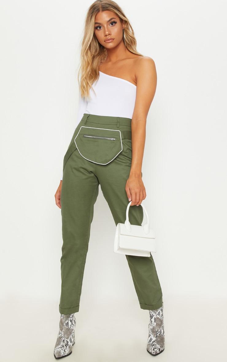 Khaki Zip Front Pouch Detail Trouser