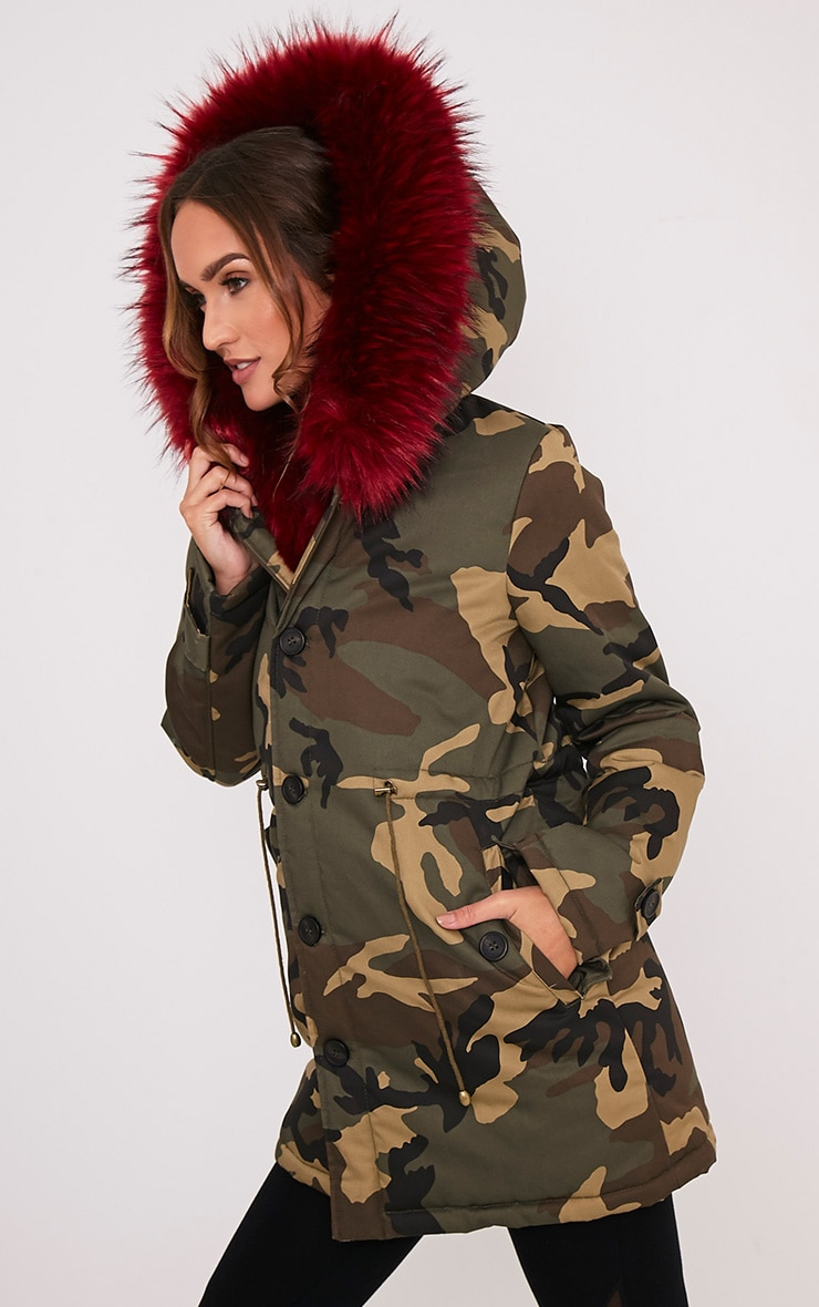 Fliss Red Premium Camo Faux Fur Lined Parka 6
