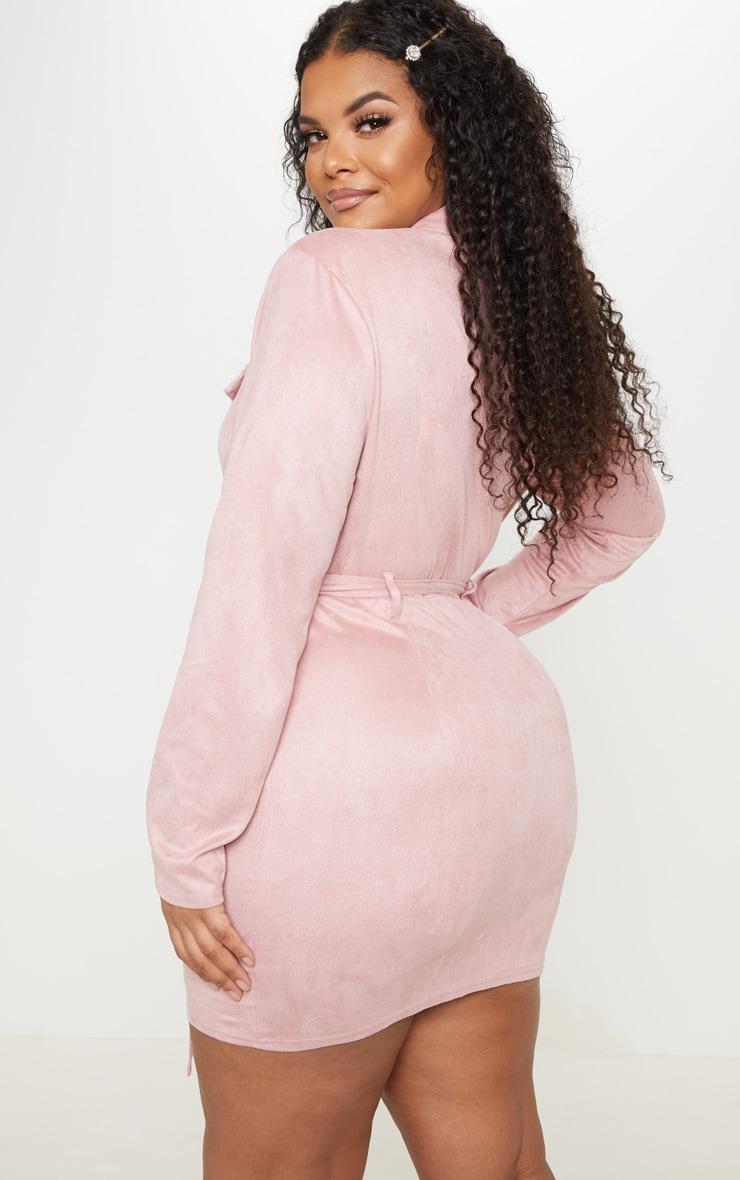 PLT Plus - Robe moulante rose cendré en suédine à poches  2