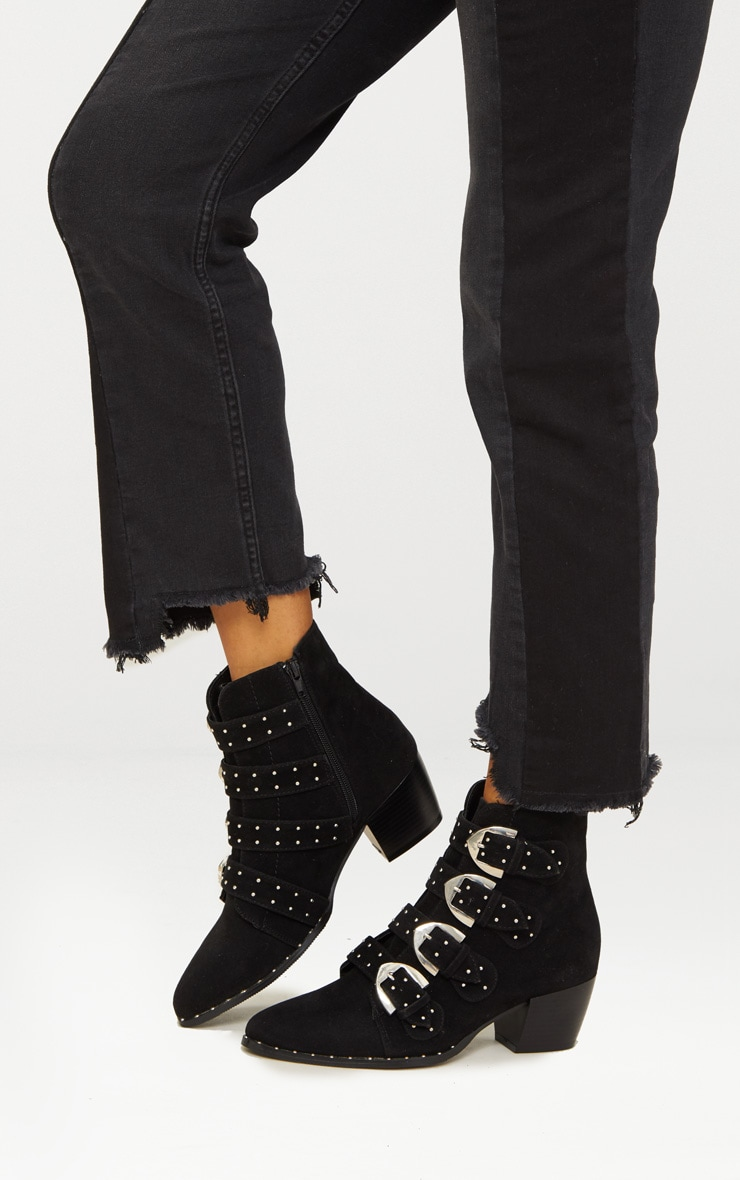 Black Pinstud Buckle Western Ankle Boot 1