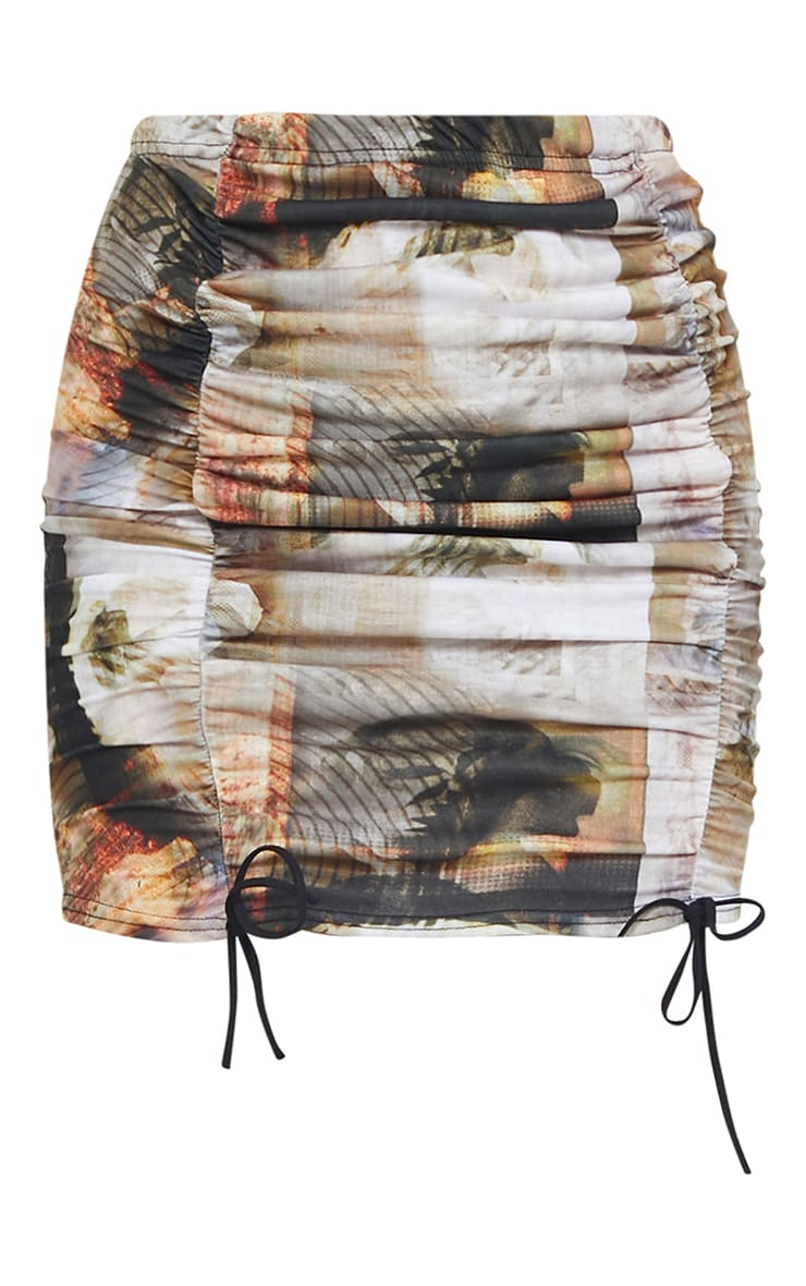 Multi Portrait Print Distorted Ruched Detail Mini Skirt 5
