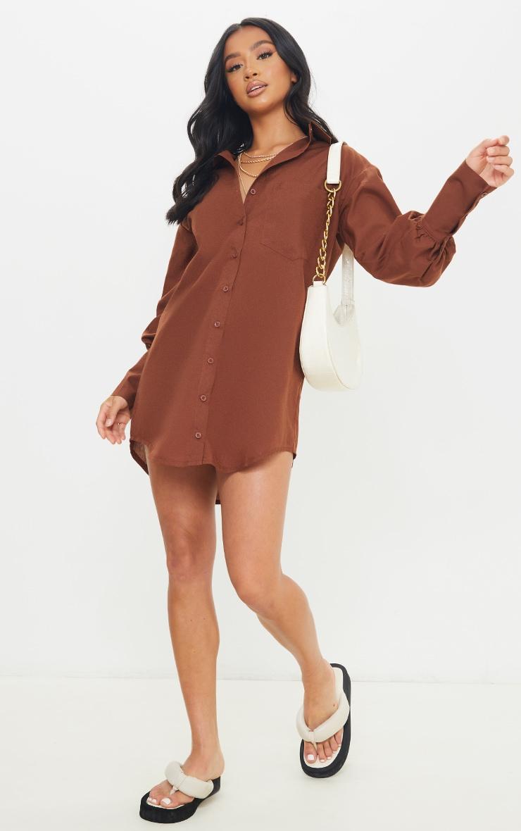 Petite Chocolate Shirt Split Hem Cuff Dress 3