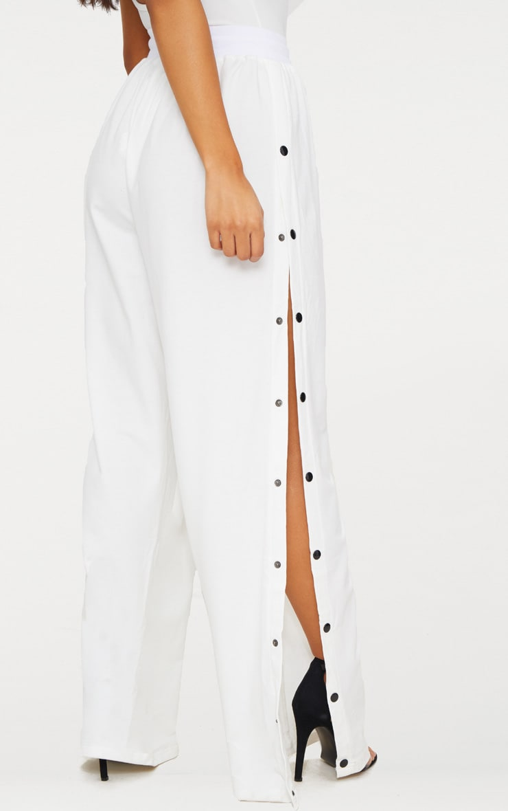 White Contrast Popper Joggers 4