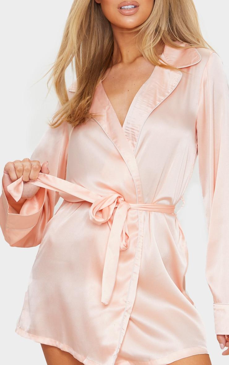 Baby Pink Satin Piped Robe 4