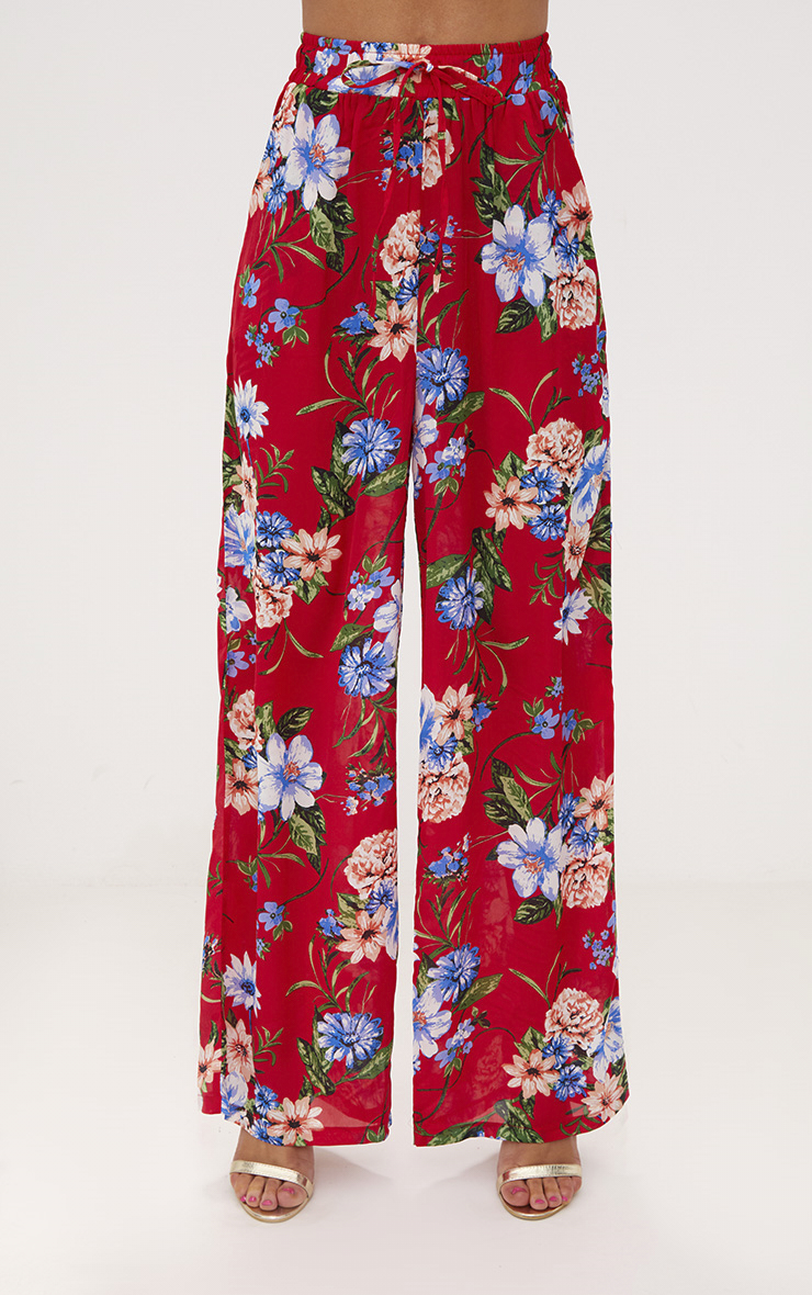Red Floral Wide Leg Trousers 4