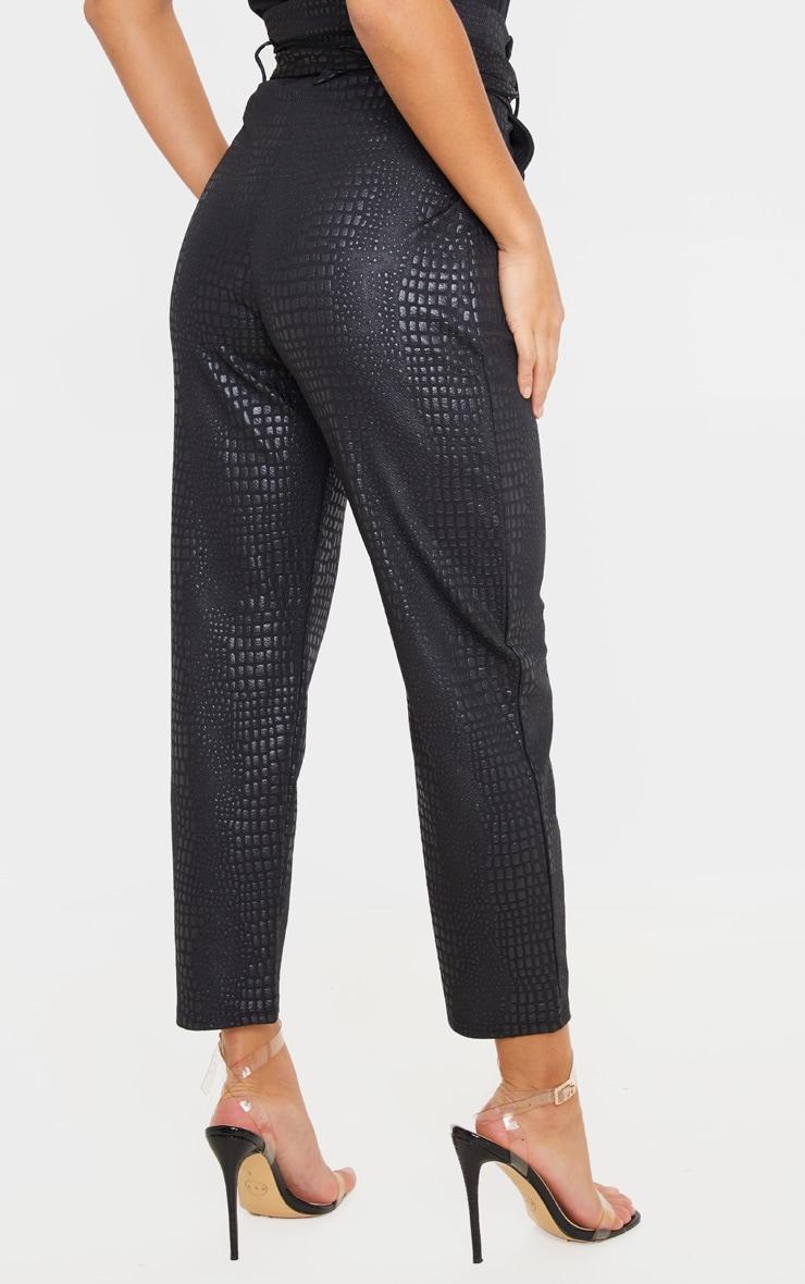 Petite Black Croc D Ring Belted Skinny Pants 4