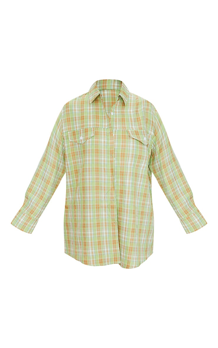 Sage Checked Oversized Shirt 5