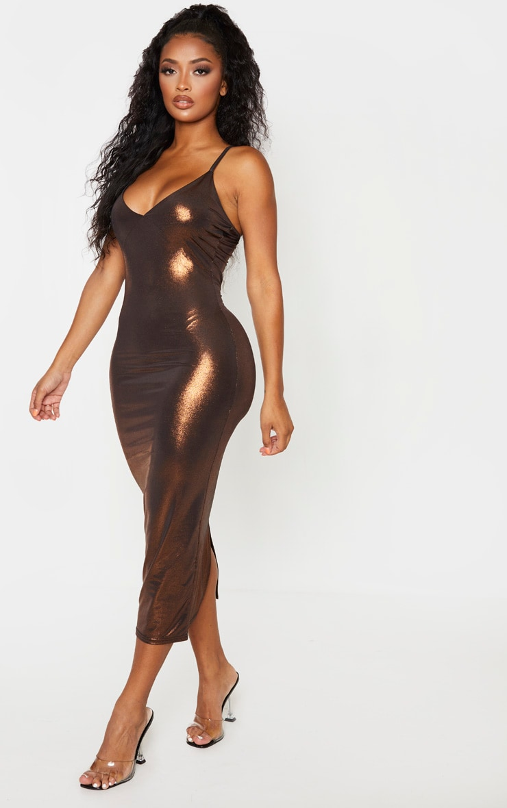Shape Bronze Metallic Slinky Cup Detail Midi Dress 1