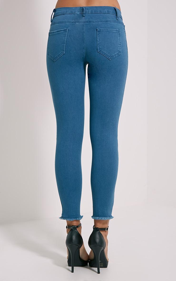 Galia Blue Mid Wash Raw Hem Jean 4