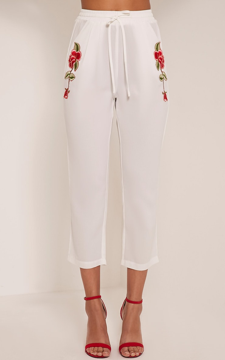 Delaney White Embroidered Pocket Trousers 2