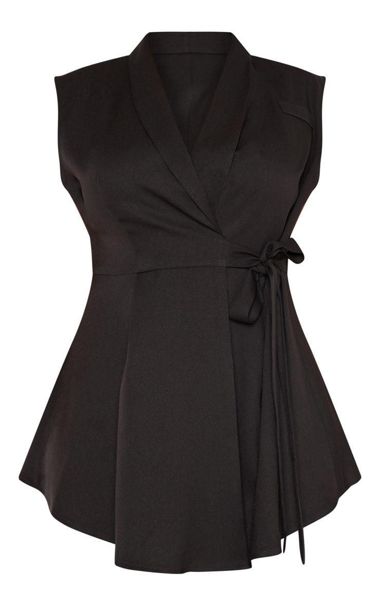 Plus Black Drape Detail Sleeveless Blazer 3