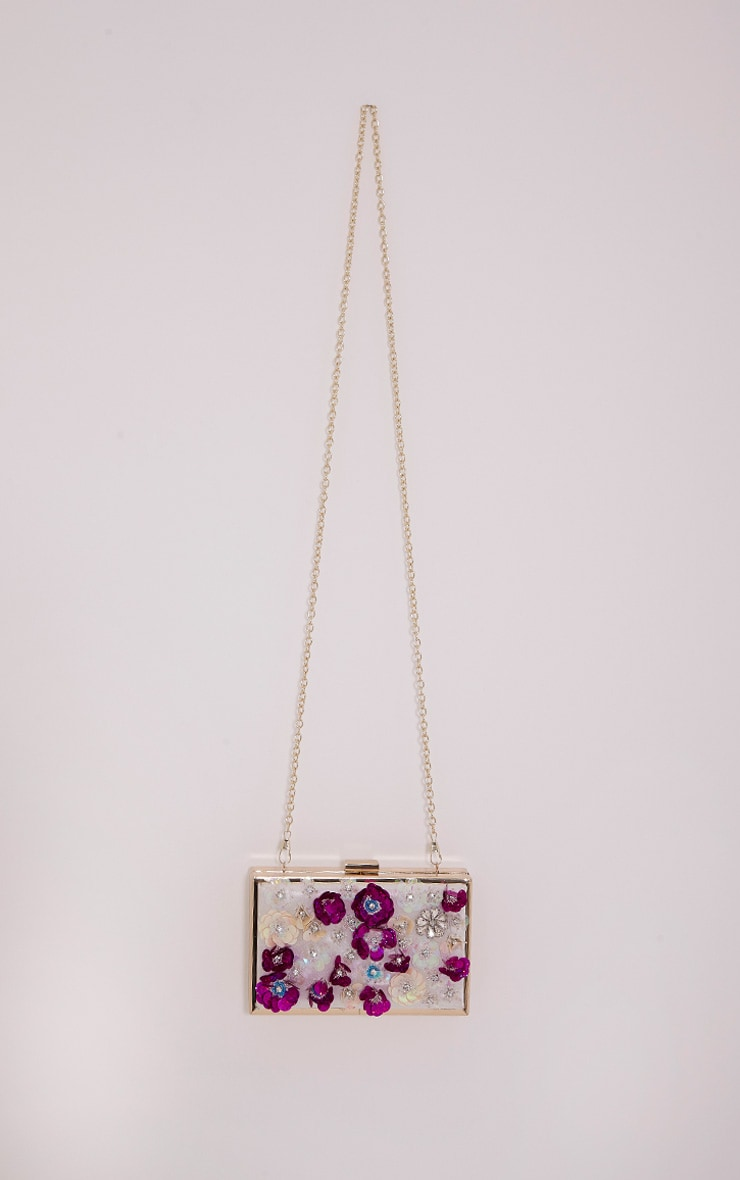 Amay Multi Sequin Flower Box Clutch 3
