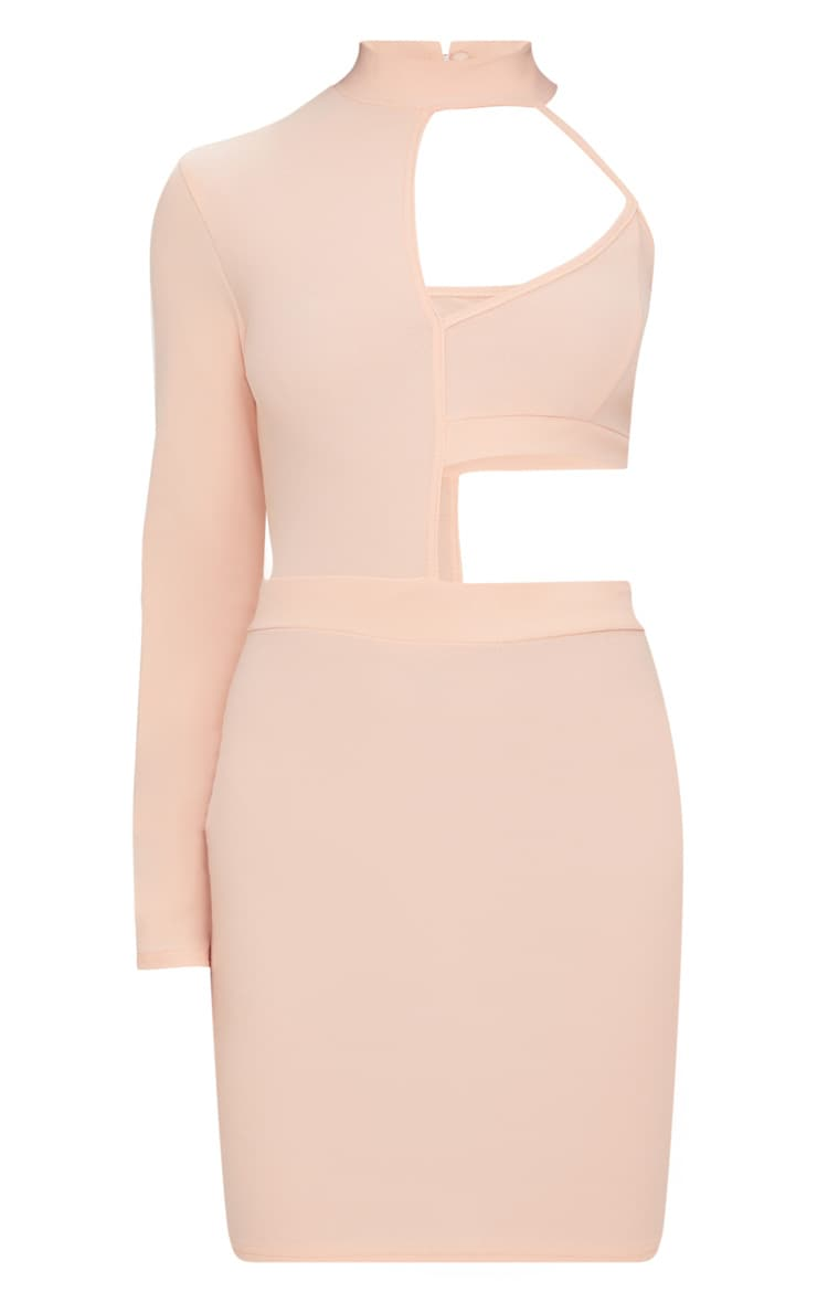 Nude High Neck One Shoulder Cut Out Detail Bodycon Dress 3