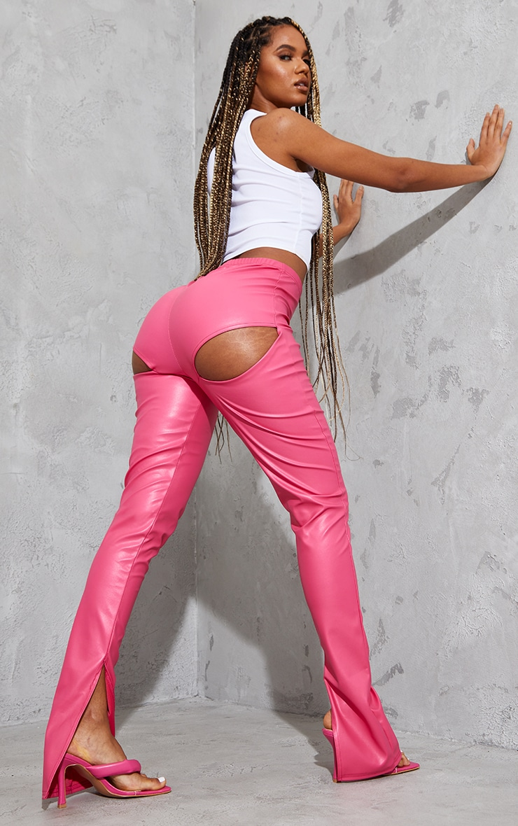 Hot Pink Faux Leather Bum Split Hem Leggings 1