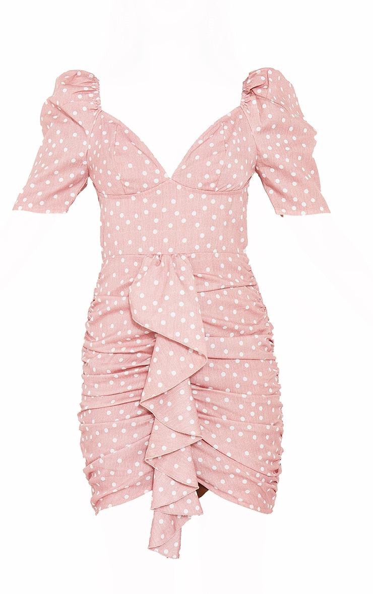 Pink Polka Dot Drape Detail Ruched Bodycon Dress 5