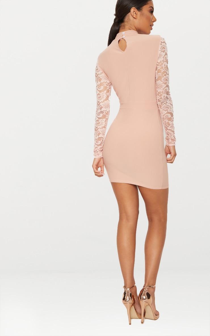 Bodycon lace dusty dress long sleeve pink rome google