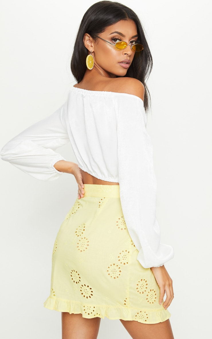 White Woven Bardot Tie Front Crop Top 2