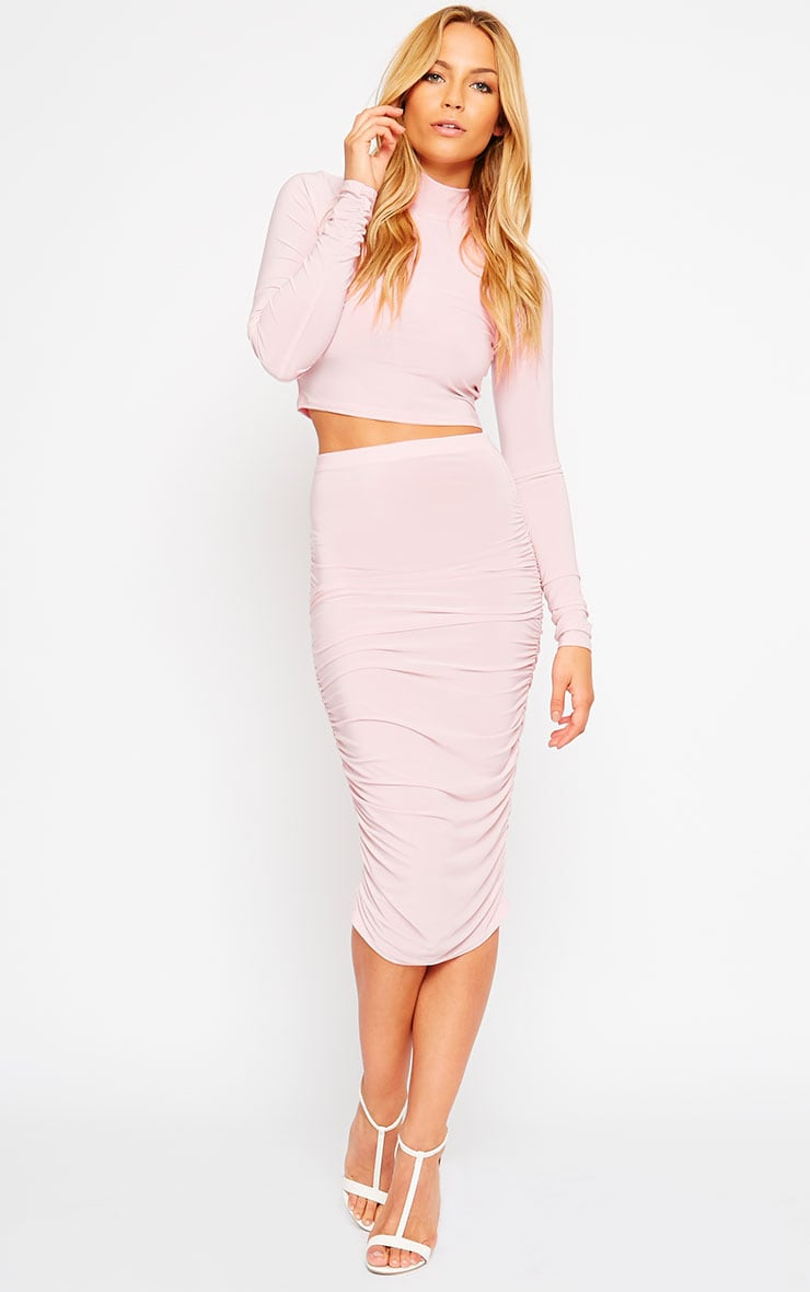 Saylor Baby Pink Slinky Gathered Midi Skirt 1