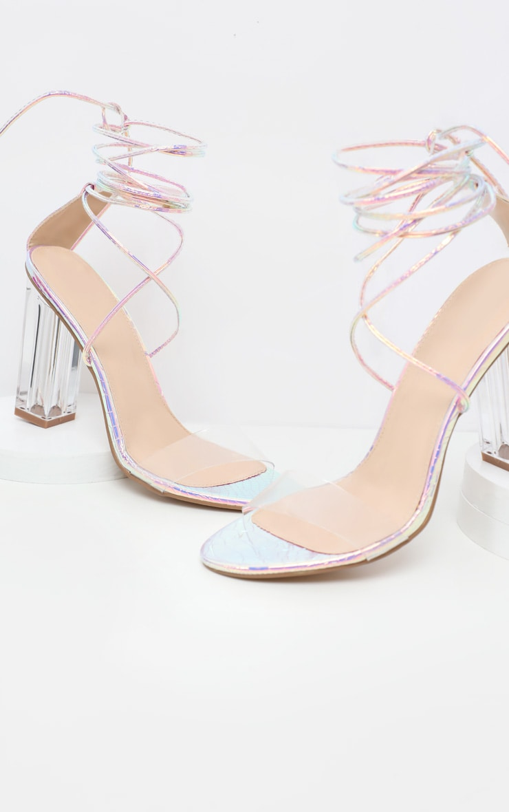 Snake Clear Holographic Heel Block Heel Sandal 4