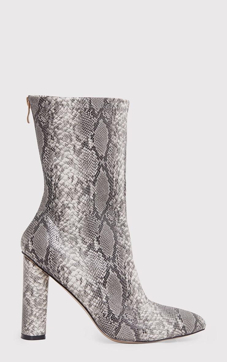 Mikayla Faux Snake Skin Sock Boots 2