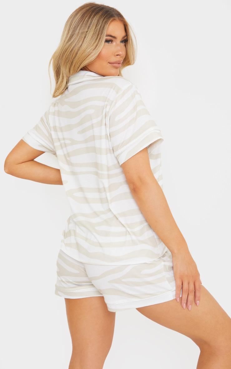 Stone Zebra Print Oversized Jersey Button Up Short PJ Set 2