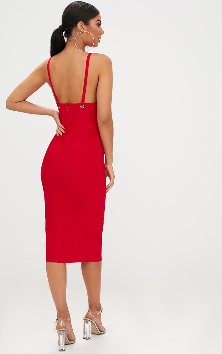 Red Bandage Strappy O Ring Midi Dress  2