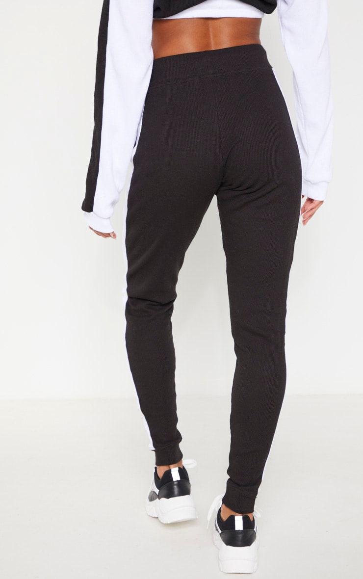 Black Waffle High Waisted Side Stripe Jogger 4