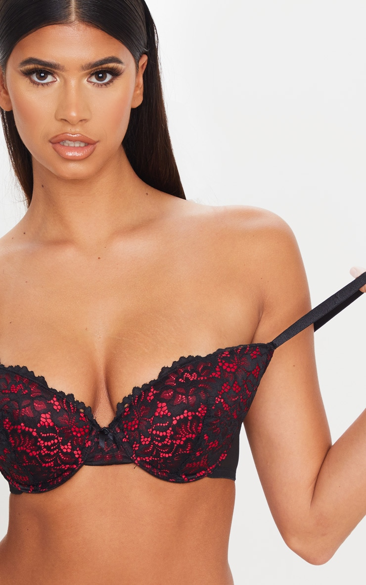 Red Ann Summers DD+ Contrast Lace Plunge Bra 5
