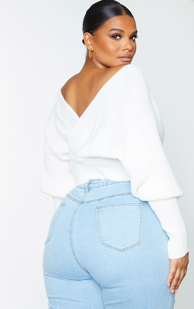 Plus Ivory Wrap Off The Shoulder Sweater 2