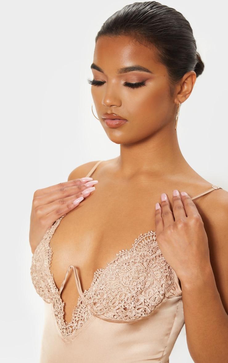 Nude Satin Lace V Cup Bodysuit 6