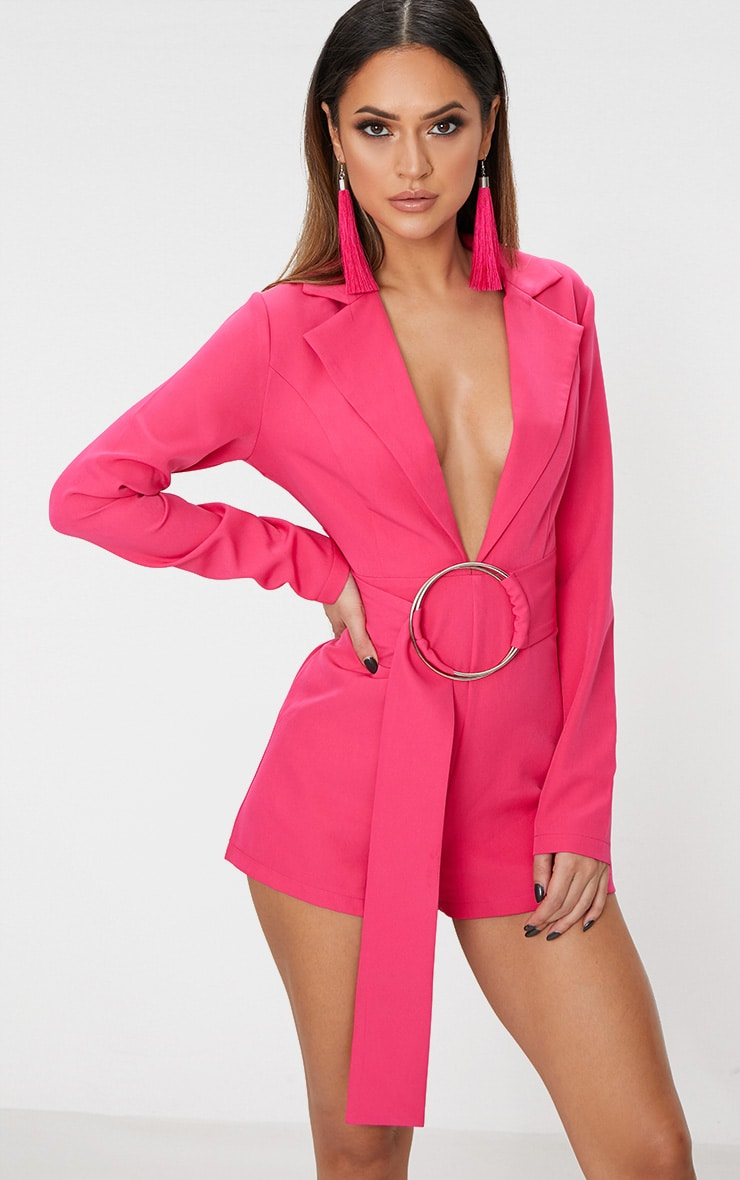 Fuchsia Tux Long Sleeve Playsuit 4