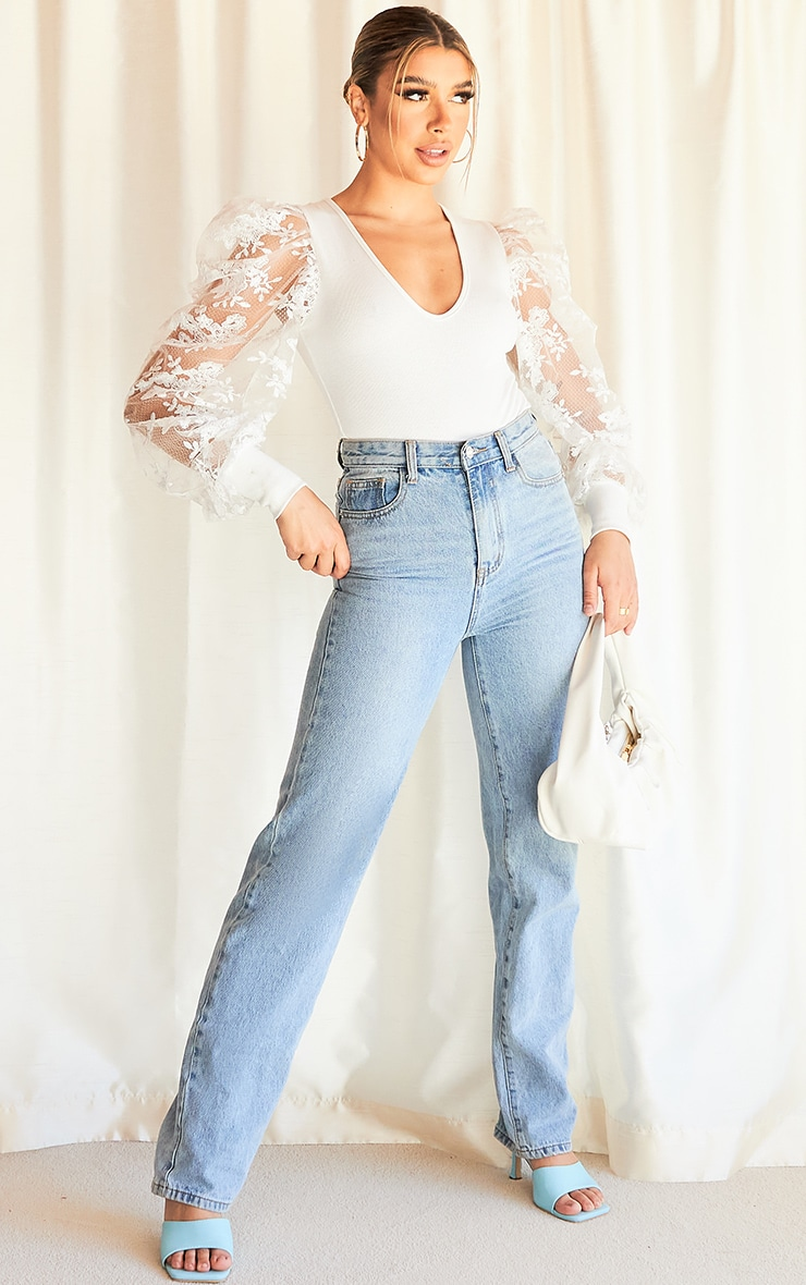 White Blush Floral Embroidered Puff Sleeve Rib Plunge Bodysuit 3