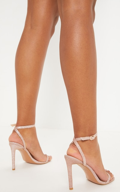 Rose Gold Glitter Single Strap Sandal