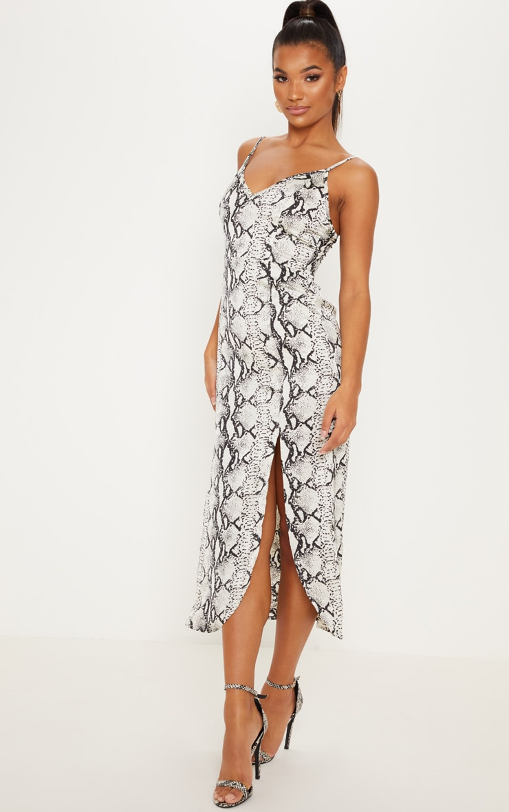 Grey Snake Print Satin Midi Slip Dress 4