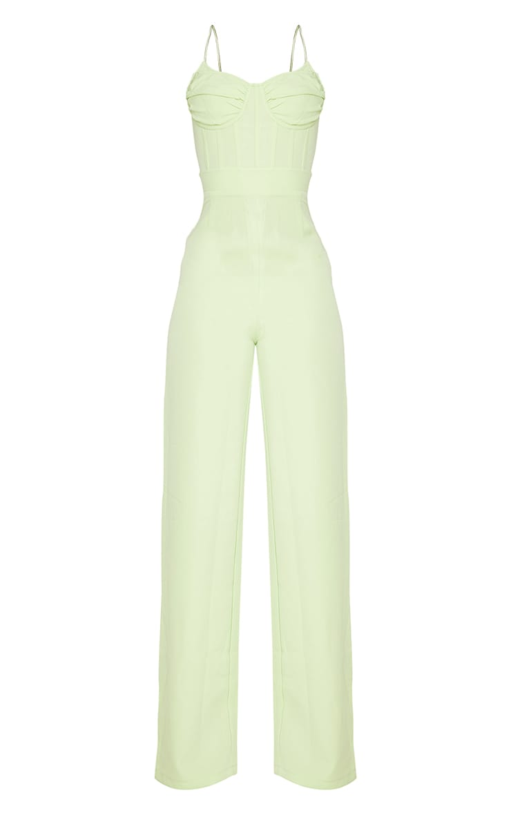 Tall Lime Ruched Cup Corset Detail Wide Leg Jumpsuit 5