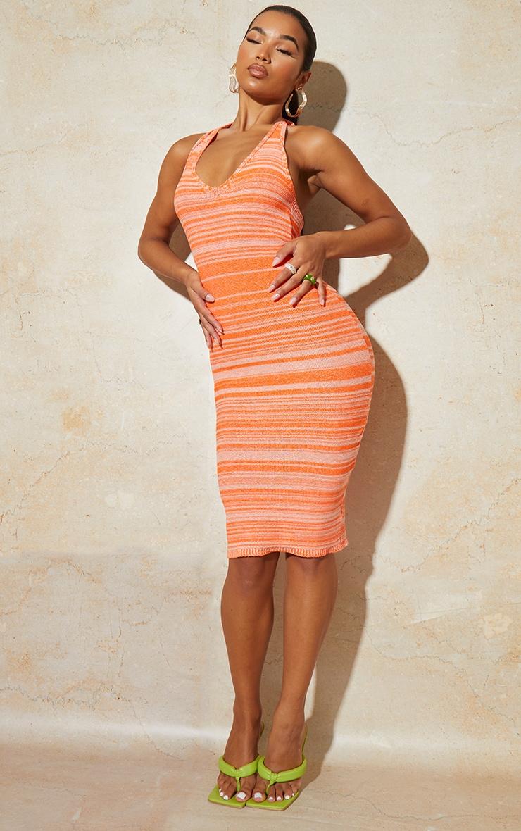 Orange Knitted Two Tone Halter Neck Midi Dress 1