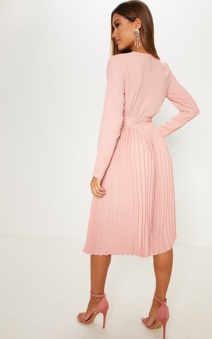 Rose Long Sleeve Pleated Midi Dress 2