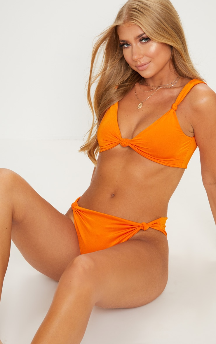 Orange Knotted Bikini Top