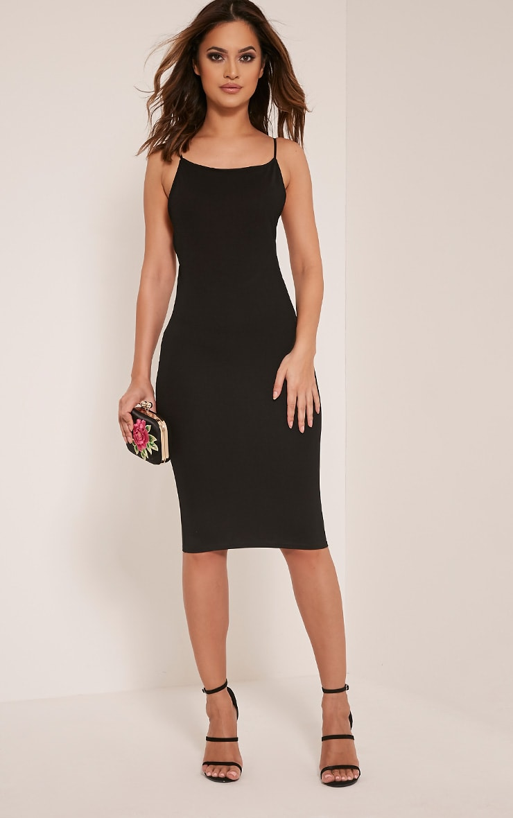 Ada Black V Back Crepe Midi Dress 5
