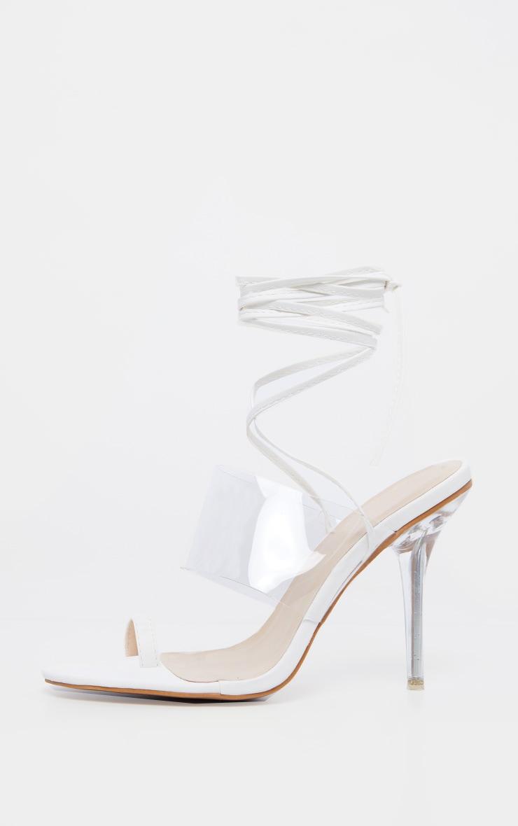 Sandales blanches à lacer avec talon transparent & bride orteil 4
