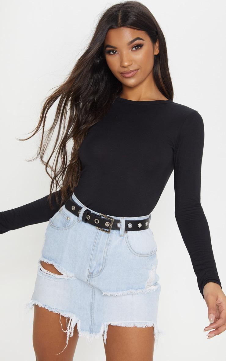 Basic Black Longsleeve Fitted T Shirt 2