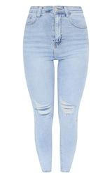 PRETTYLITTLETHING Vintage Wash Knee Rip 5 Pocket Skinny Jean 5