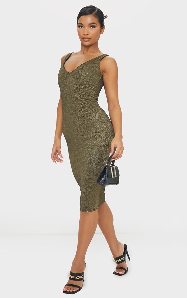 Gold Glitter Plunge Midi Dress 3