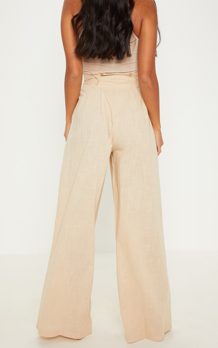 Petite Stone High Waisted Paper Bag Wide Leg Pants 4