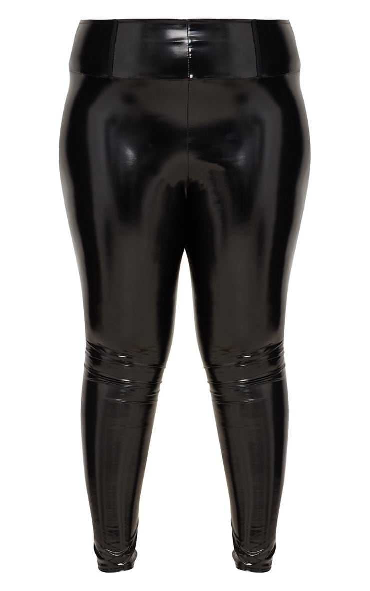 Plus Black High Waist Vinyl Leggings 3
