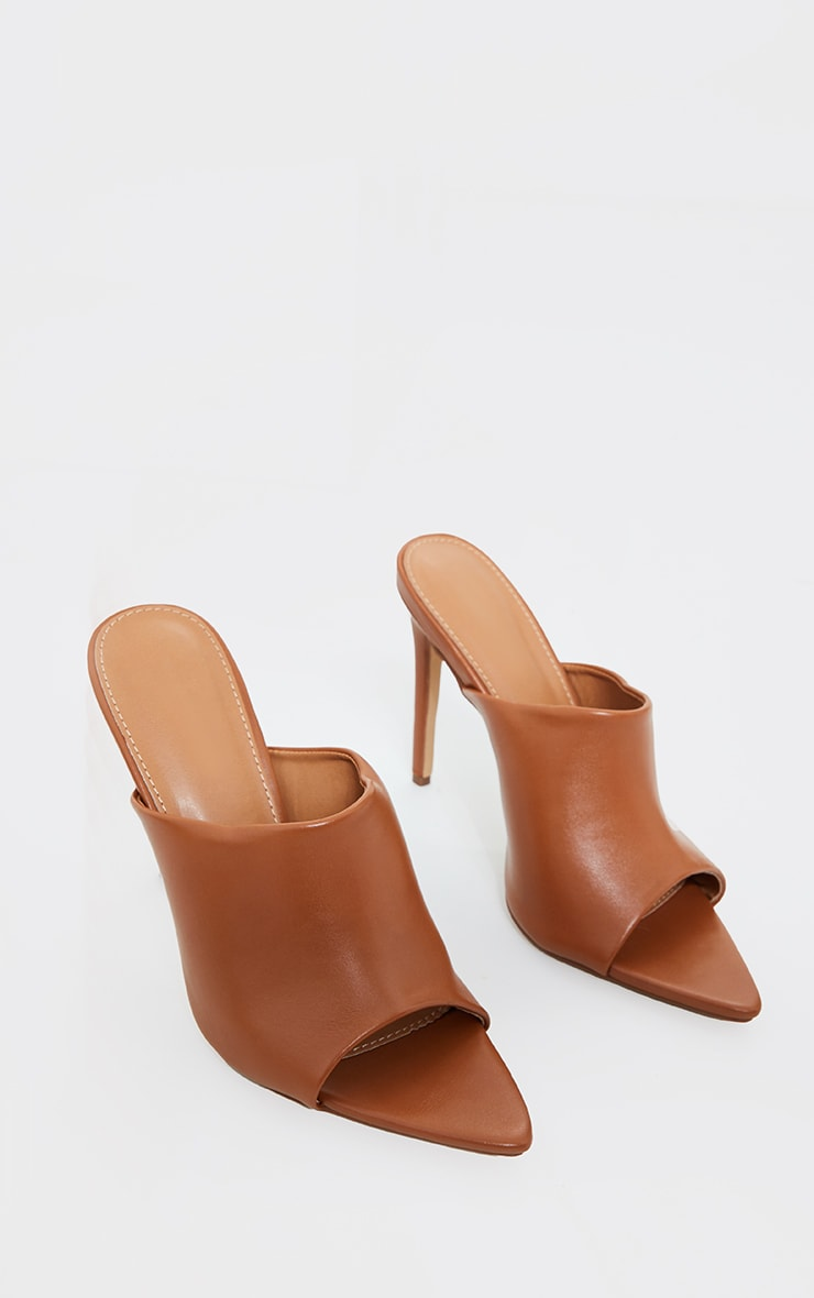 Camel Pu Pointed High Heeled Mules 2