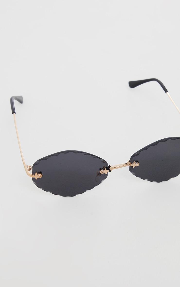 Black Faceted Round Lens Sunglasses 3